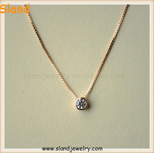 "Simply Hot Selling Jewellery Small Round Cubic Zirconia 925 silver Solitaire Pendant Necklace rose gold with 18"" box chain"