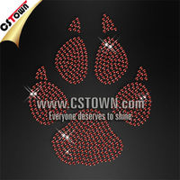 Red custom hotfix crystal paw rhinestone
