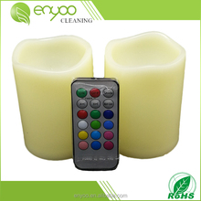 2 Pcs Flameless Candles with Timer Remote Control, Unscented Flickering Battery Operated Electric Candle for Decoration