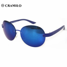 yellow and blue true color change rimless frame sunglasses