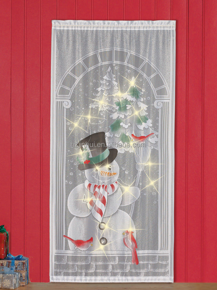 christmas holiday lighted print lace curtain panel snow man 40 84 Inch