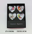 Heart shaped custom printing souvenir crystal glass fridge magnet for home decoration