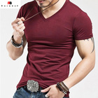 2017 novo design casual Popular v neck t camisas dos homens