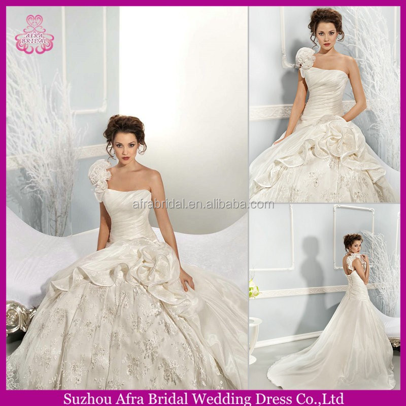 QQ1606 one shoulder organza and lace wedding gowns 2015 discounted wedding dress