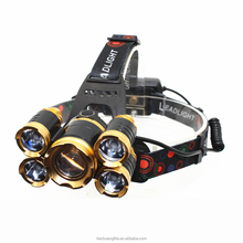USB Rechargeable 5 LED Zoomable Headlight 1* XML-T6 + 4* XPE Hunting Lamp Fishing Zoom Headlamp with with head strap