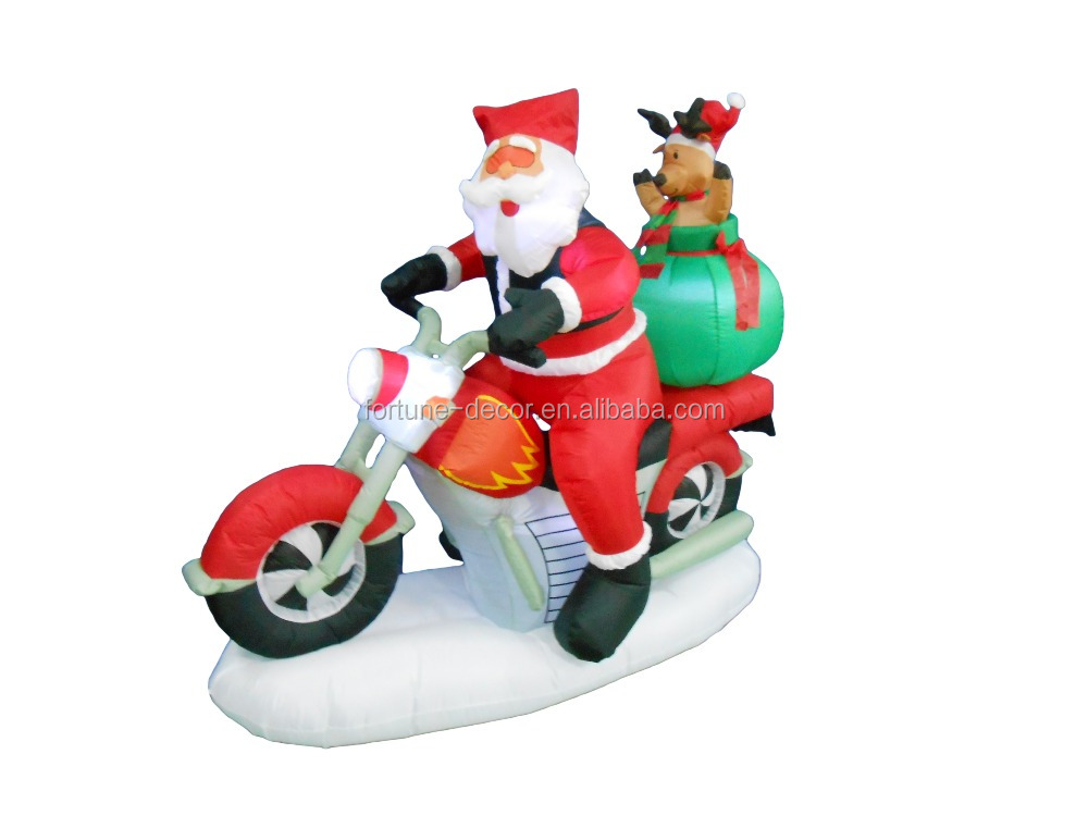160cm inflatable santa claus ride motorcycle with reindeer for christmas decoration