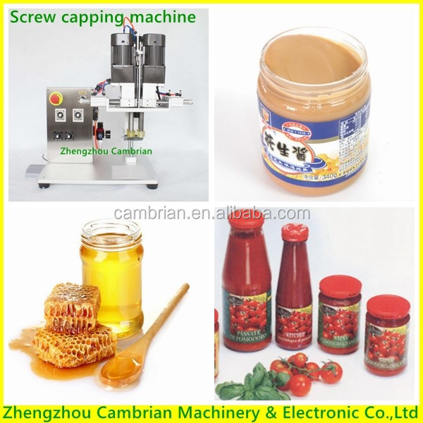 4 Roller desk honey peanut butter bottle capping machine for food chemical cosmetic