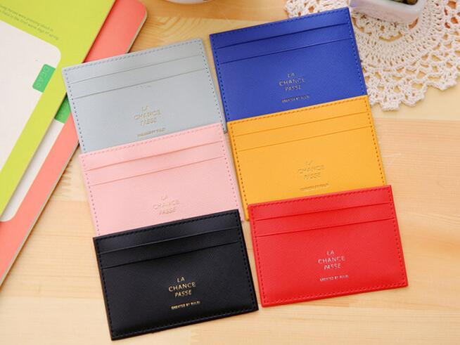 wholesale Lovely PU leather Business Credit Card purse wallet leather Bank Card case pvc ID Card passport Holder Pocket Bag