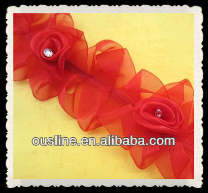 red organza ribbon rosette trimming wholesale, rhinestone center rosette, wedding decoration