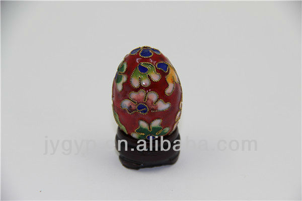 stock cloisonne red eggs decor with flowers images,Easter egg