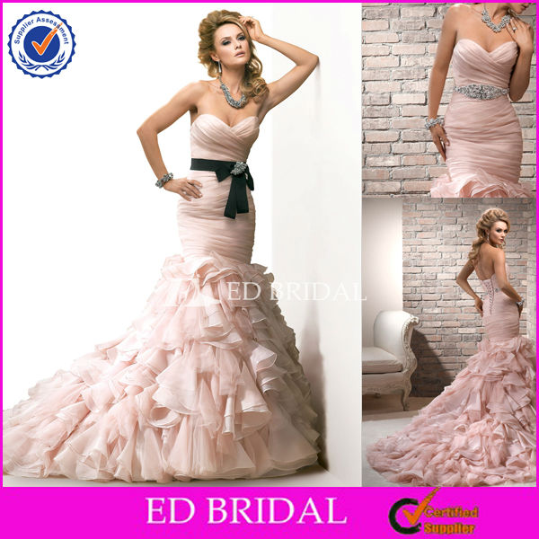 XL163 2014 Strapless Pleat Bodice Ruffles Skirt Fishtail Low Back Pink And Black Wedding Dresses
