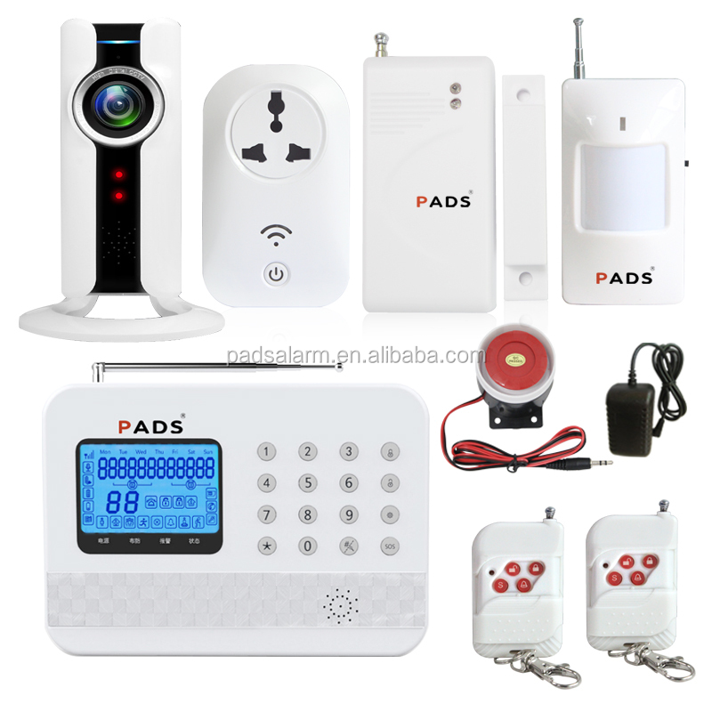 APP control HD IP camera monitoring GSM PSTN dual network smart home burglar wireless security alarm system