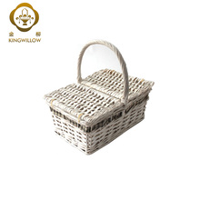 Handmade Cheap 4 Person Willow Wood Chip White Picnic Storage Basket for Sale
