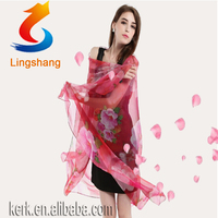 Chinese Gorgeous Feminine Comfortable 100% Pure Silk Scarf Gift