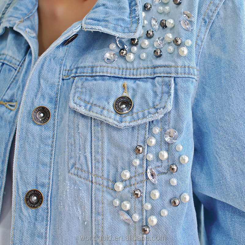Manufacture women fancy distressed ripped stretch winter denim jacket with pearls