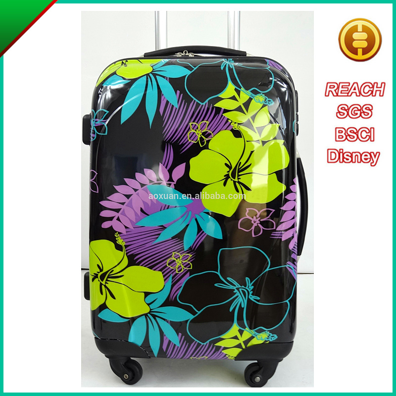china supplier printed flower Beautiful Luggage 4 Wheels Trolley Hard Suitcase Luggage