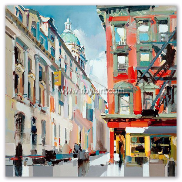 Handmade canvas art modern abstract city view landscape oil painting