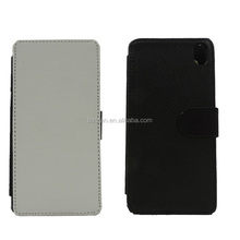 High Quality Sublimation flip card holder leather phone case for Sony Z3 L55T