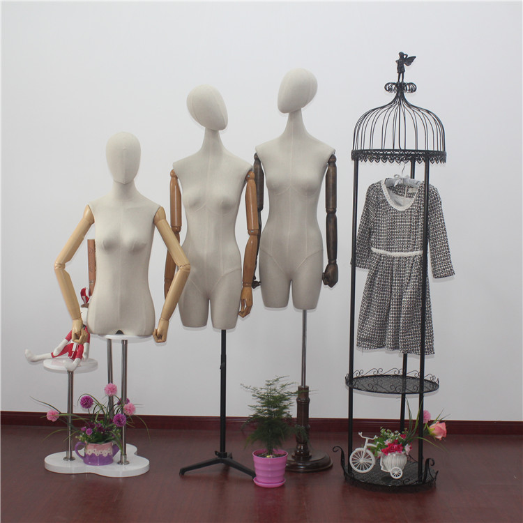 elegant fashion female torso adjustable mannequin with wooden arms