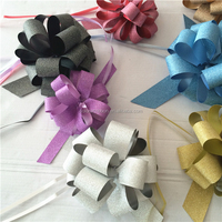 Decorating party pull string pp glitter ribbon pompom bow