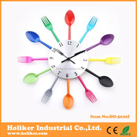 Colorful stainless steel fork and knife wall clock for kitchen decorative