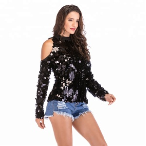 long sleeves lady party wear single shoulder sequins plus size shirts blouses