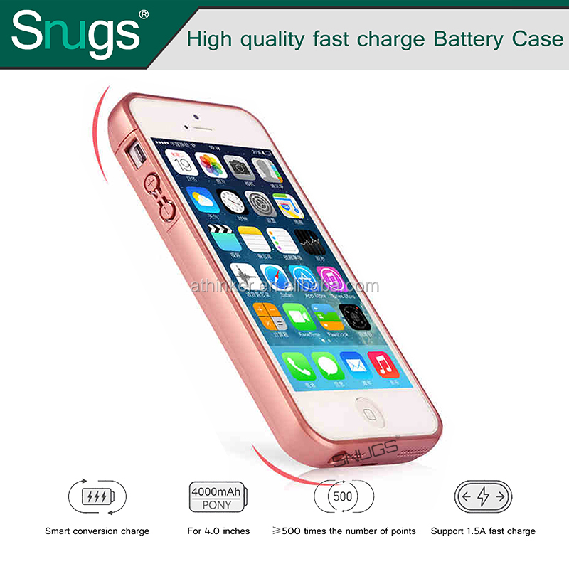 No chin Backup Battery case with Cover Power case 4000mAh for SmartPhone for iPhone 5