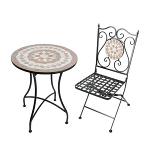 Outdoor garden furniture folding black metal table and chairs set cast Iron Furniture