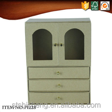 Eco-friendly cardboard paper pvc windows portable file storage cabinet with 4 drawers