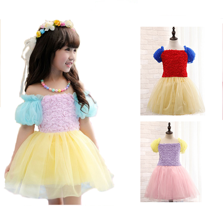 0154addaec8 Get Quotations · vestido New Baby Girl Summer Dress Puff Sleeve tutu  Flowers Dresses for Kids Girls Toddler Party