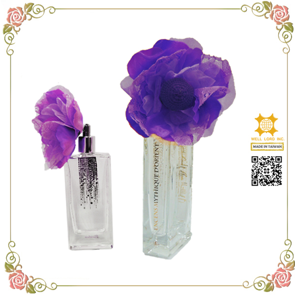 Satin handmade flower decoration french perfume names glass bottle