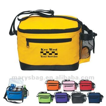 70D Nylon Six-pack Cooler Bag with Mesh Bottle Holder
