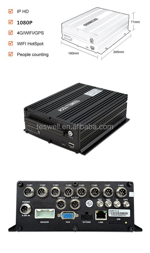 8ch 1080P realtime monitoring 4 CH MDVR 3G GPS H.264 G-sensor school bus mobile NVR