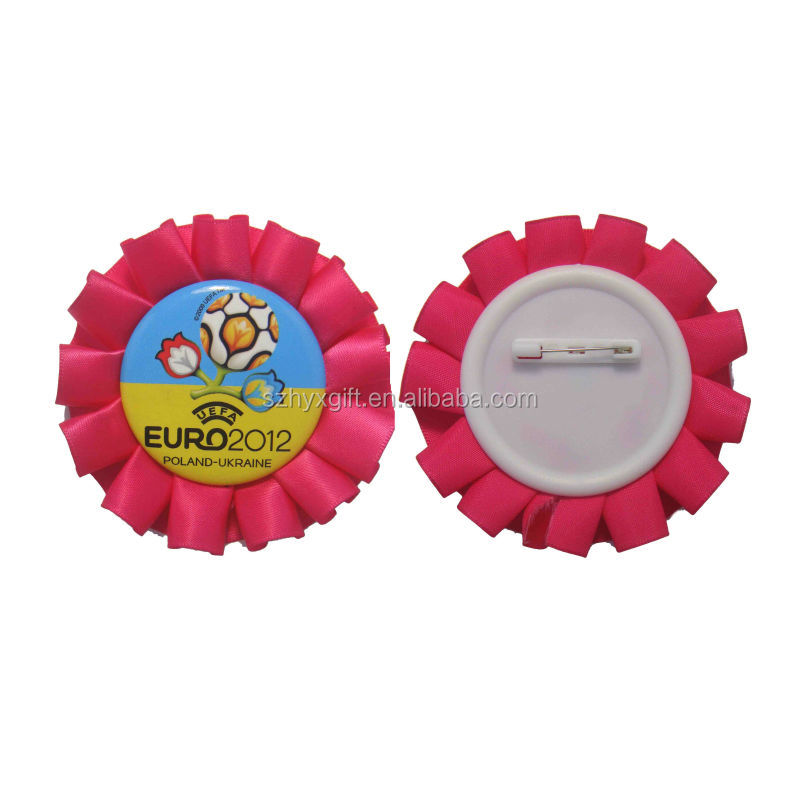 Football Thematic Promotion Colorful Handmade Factory High Quality Award Ribbon badge Rosette For Sport/Party