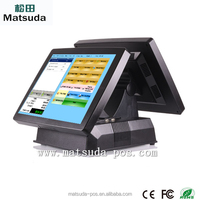 Dual screen all in one Pos system with 80 mm printer , cash drawer and programmal keyboard
