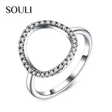 Fashion Cubic Zirconia Jewelry Rings S925 Sterling Silver Hollow out Ring