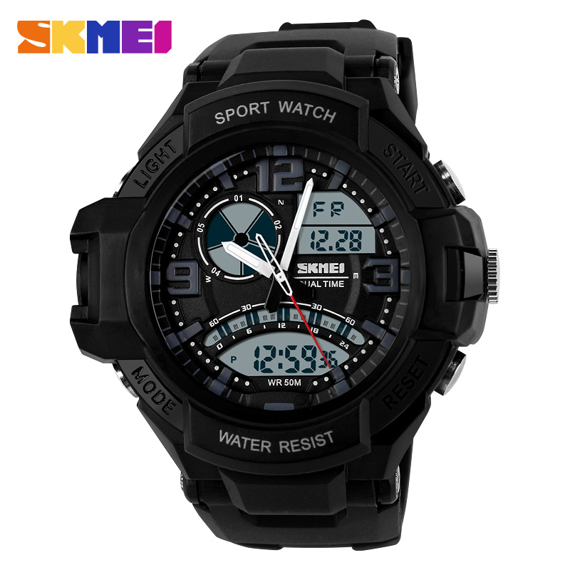 SKMEI Brand Men fashion Sports analog Digital LED Quartz black silicone rubber band relojes hombre montre homme men watch