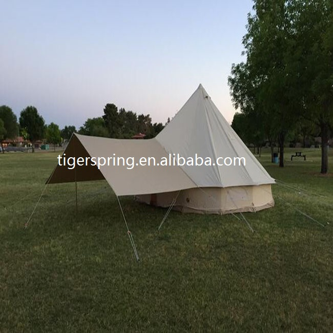 Outdoor Luxury Cotton Canvas Family Camping Emperor Bell Tent with front awning
