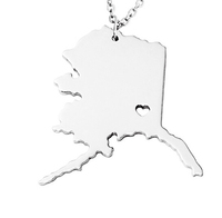 SJUSASN007 New Product 18k Gold Plated Stainless Steel Silver/Yellow/Rose Gold USA Alaska State Map Necklace