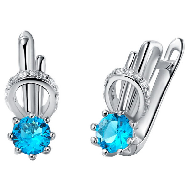 Classic promotional silver plated sapphire zircon cheap dropship earring