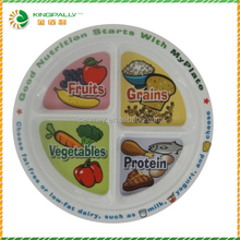 Printed melamine 4 sections plate,melamine 4 compartment plate,eco friendly