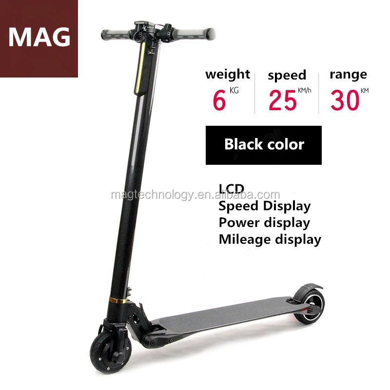 Magee lightest cheap foldable electric scooter 5 inch wheels high torgue motor Carbon Fiber Electric Scooter 8.8AH 24V 250W
