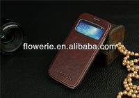 FL308 hot selling stand genuine window Sheepskin leather case for samsung galalxy s4