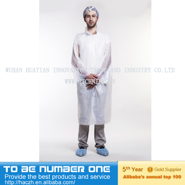 Disposable Plastic lab coat ,CPE visitor gown, disposable anti- water protective coat