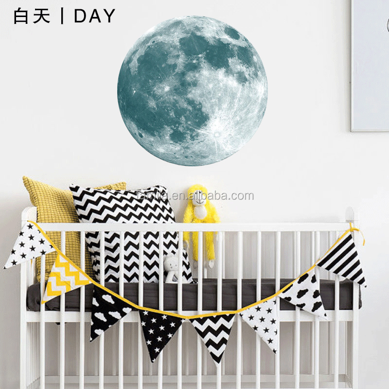 30CM Blue Full Moon Wall Stickers Creative Glow in the Dark Light Luminous Wall Art Decals for Home Room