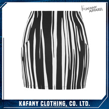 Black And White Oil Stripe Comfortable Fit Mini Skirt Women Hot Sexy Gals In Short Skirts