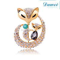 Fashion Double Fox Crystal Metal Rhinestone