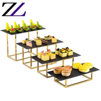 Arabian luxury afternoon tea wedding party 4 tier buffet riser set marble slate serving cupcake platter golden cake stand