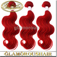 wholesale hot red human hair bundels, cheap price body wave red hair weave