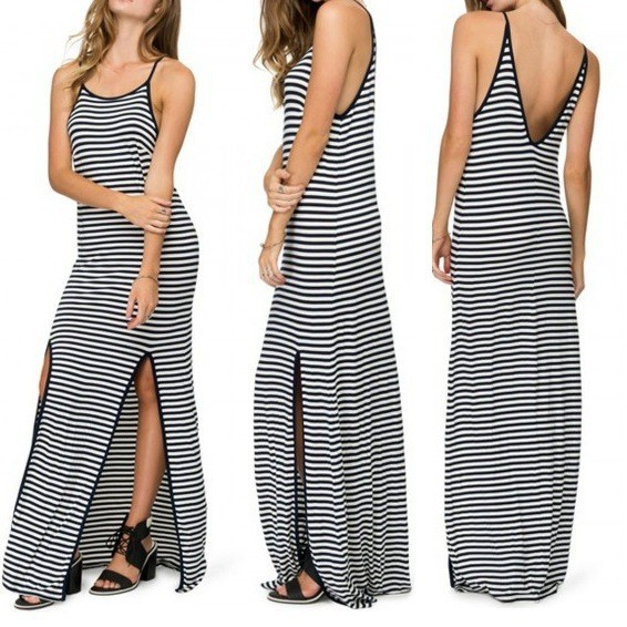 C87332A Lady Black and white striped dress slit harness long dress